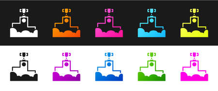 Set Award over sports winner podium icon isolated on black and white background. Vector