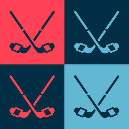 Pop art Ice hockey sticks icon isolated on color background. Vector
