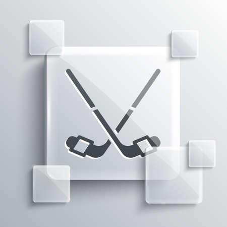 Grey Ice hockey sticks icon isolated on grey background. Square glass panels. Vector  イラスト・ベクター素材