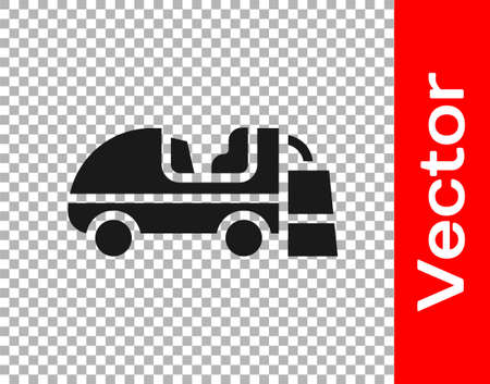 Black Ice resurfacer icon isolated on transparent background. Ice resurfacing machine on rink. Cleaner for ice rink and stadium. Vector  イラスト・ベクター素材