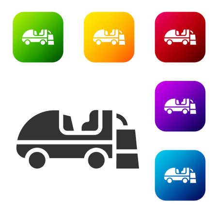 Black Ice resurfacer icon isolated on white background. Ice resurfacing machine on rink. Cleaner for ice rink and stadium. Set icons in color square buttons. Vector  イラスト・ベクター素材
