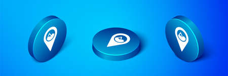 Isometric Map pointer with mountain icon isolated on blue background. Mountains travel icon. Blue circle button. Vector
