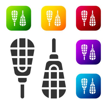 Black Snowshoes icon isolated on white background. Winter sports and outdoor activities equipment. Set icons in color square buttons. Vector