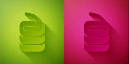 Paper cut Stone for curling sport game icon isolated on green and pink background. Sport equipment. Paper art style. Vector
