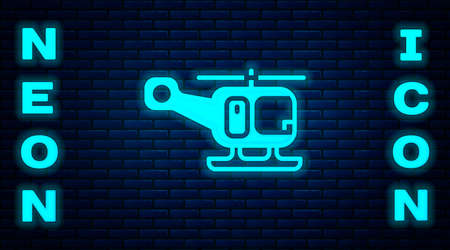 Glowing neon Rescue helicopter aircraft vehicle icon isolated on brick wall background. Vector