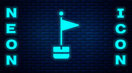 Glowing neon Flag icon isolated on brick wall background. Location marker symbol. Vector