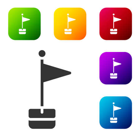 Black Flag icon isolated on white background. Location marker symbol. Set icons in color square buttons. Vector  イラスト・ベクター素材