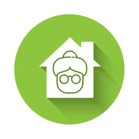 White Nursing home building icon isolated with long shadow. Health care for old and sick people. Center for retired people. Green circle button. Vector