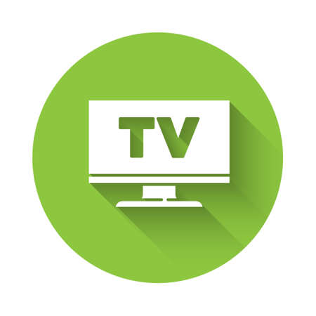 White Smart Tv icon isolated with long shadow. Television sign. Green circle button. Vector