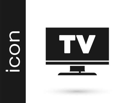 Black Smart Tv icon isolated on white background. Television sign. Vector Vettoriali