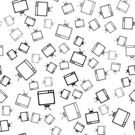Black Retro tv icon isolated seamless pattern on white background. Television sign. Vector