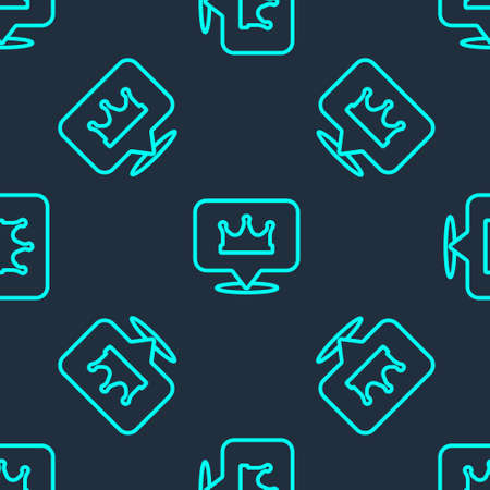 Green line Location king crown icon isolated seamless pattern on blue background. Vector