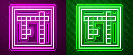 Glowing neon line Bingo icon isolated on purple and green background. Lottery tickets for american bingo game. Vector