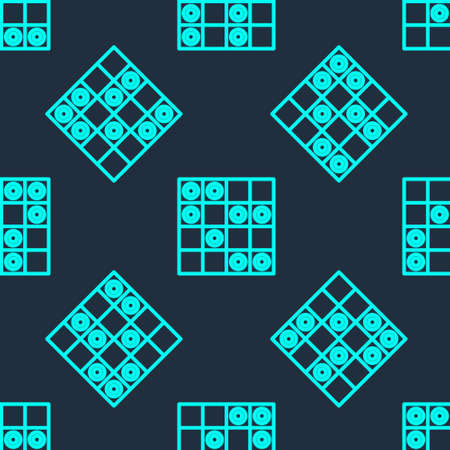 Green line Board game of checkers icon isolated seamless pattern on blue background. Ancient Intellectual board game. Chess board. White and black chips. Vector