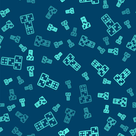 Green line Domino icon isolated seamless pattern on blue background. Vector