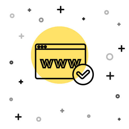 Black line Website template icon isolated on white background. Internet communication protocol. Random dynamic shapes. Vector