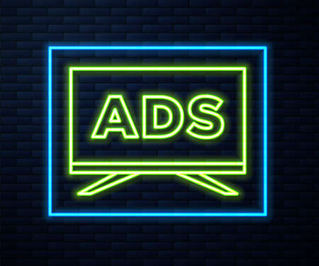 Glowing neon line Advertising icon isolated on brick wall background. Concept of marketing and promotion process. Responsive ads. Social media advertising. Vector Vectores