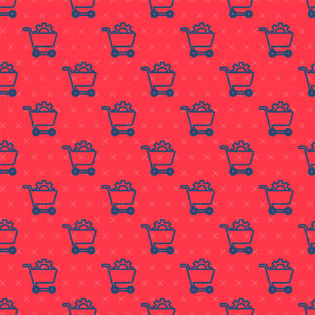 Blue line Shopping cart icon isolated seamless pattern on red background. Online buying concept. Delivery service. Supermarket basket. Vector Vectores