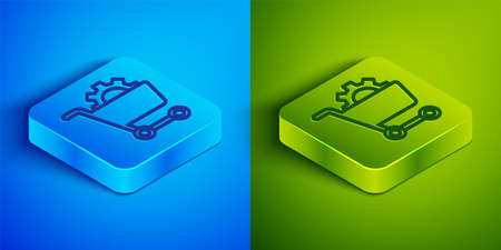 Isometric line Shopping cart icon isolated on blue and green background. Online buying concept. Delivery service. Supermarket basket. Square button. Vector