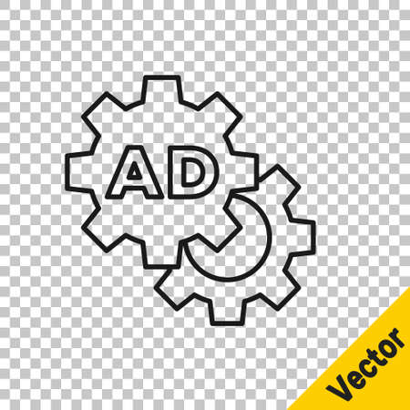 Black line Advertising icon isolated on transparent background. Concept of marketing and promotion process. Responsive ads. Social media advertising. Vector