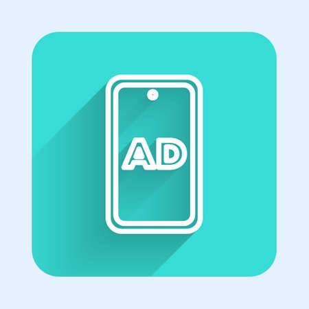 White line Advertising icon isolated with long shadow. Concept of marketing and promotion process. Responsive ads. Social media advertising. Green square button. Vector Vectores