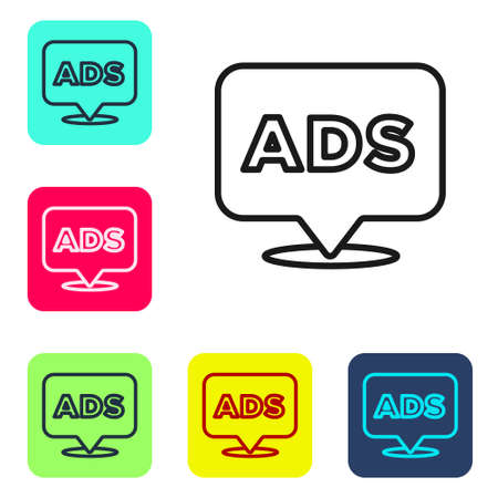 Black line Advertising icon isolated on white background. Concept of marketing and promotion process. Responsive ads. Social media advertising. Set icons in color square buttons. Vector