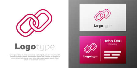 Logotype line Chain link icon isolated on white background. Link single. Hyperlink chain symbol. Logo design template element. Vector