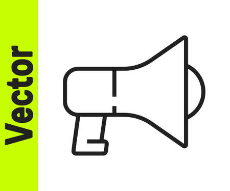 Black line Megaphone icon isolated on white background. Speaker sign. Vector Vectores