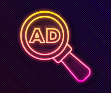Glowing neon line Advertising icon isolated on black background. Concept of marketing and promotion process. Responsive ads. Social media advertising. Vector