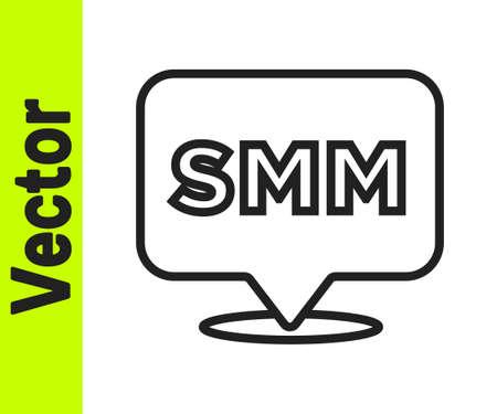 Black line SMM icon isolated on white background. Social media marketing, analysis, advertising strategy development. Vector