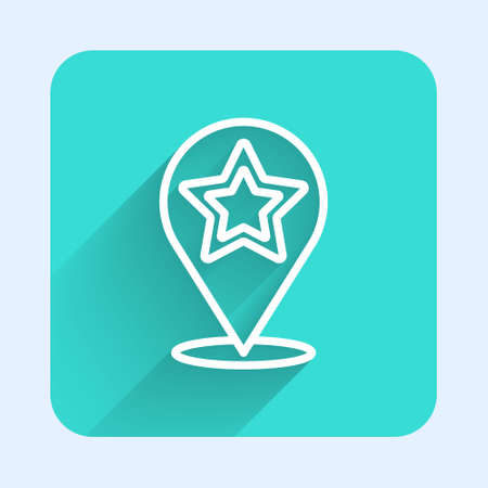 White line Map pointer with star icon isolated with long shadow. Star favorite pin map icon. Map markers. Green square button. Vector  イラスト・ベクター素材