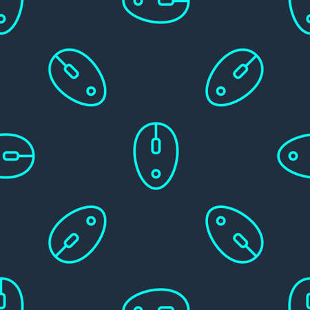 Green line Computer mouse icon isolated seamless pattern on blue background. Optical with wheel symbol. Vector