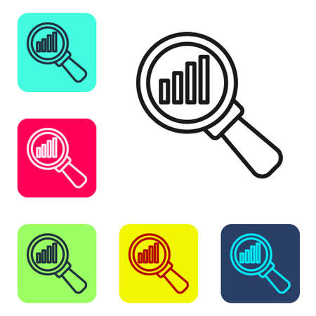 Black line Magnifying glass and data analysis icon isolated on white background. Set icons in color square buttons. Vector