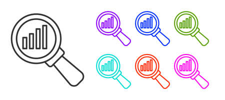 Black line Magnifying glass and data analysis icon isolated on white background. Set icons colorful. Vector Vectores