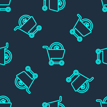 Green line Shopping cart and dollar symbol icon isolated seamless pattern on blue background. Online buying concept. Delivery service. Supermarket basket. Vector