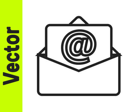 Black line Mail and e-mail icon isolated on white background. Envelope symbol e-mail. Email message sign. Vector Vectores