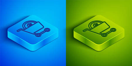 Isometric line Shopping cart and dollar symbol icon isolated on blue and green background. Online buying concept. Delivery service. Supermarket basket. Square button. Vector 向量圖像