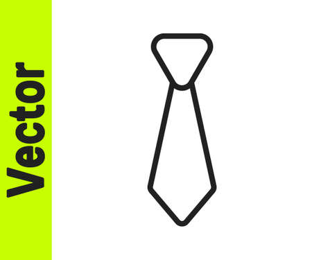 Black line Tie icon isolated on white background. Necktie and neckcloth symbol. Vector