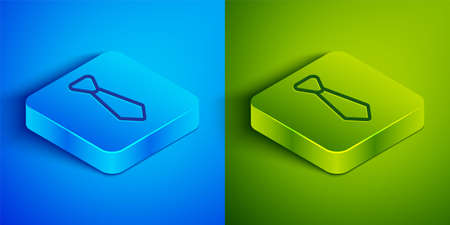 Isometric line Tie icon isolated on blue and green background. Necktie and neckcloth symbol. Square button. Vector