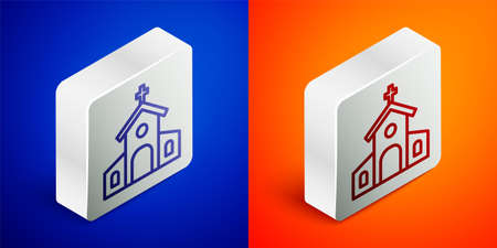 Isometric line Church building icon isolated on blue and orange background. Christian Church. Religion of church. Silver square button. Vector