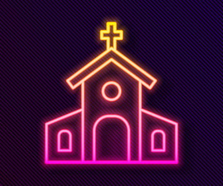 Glowing neon line Church building icon isolated on black background. Christian Church. Religion of church. Vector Çizim