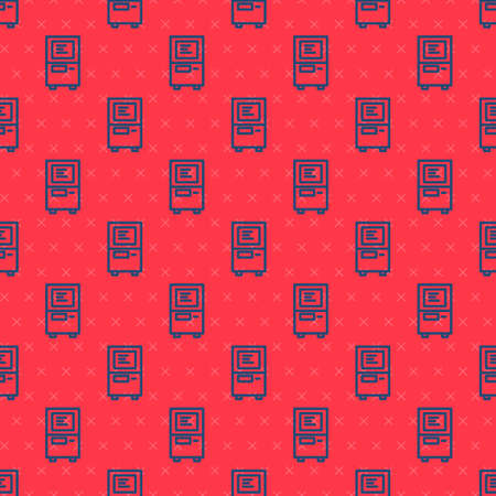 Blue line ATM - Automated teller machine icon isolated seamless pattern on red background. Vector