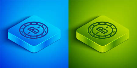 Isometric line Cryptocurrency coin Bitcoin icon isolated on blue and green background. Physical bit coin. Blockchain based secure crypto currency. Square button. Vector