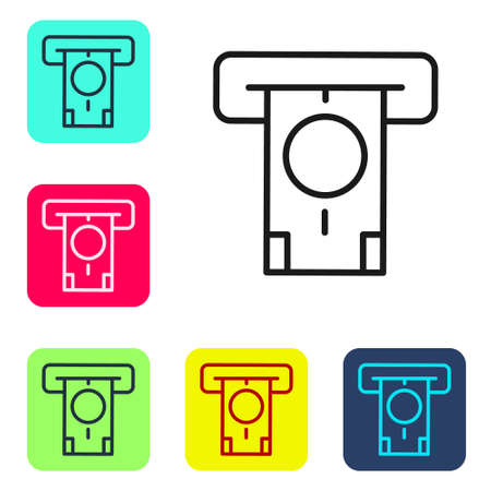 Black line ATM - Automated teller machine and money icon isolated on white background. Set icons in color square buttons. Vector 矢量图像