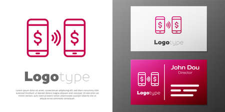 Logotype line Money payment transfer in mobile icon isolated on white background. Concept of fast pay by purchase. Sending and receiving money. Logo design template element. Vector