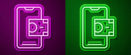 Glowing neon line Mobile banking icon isolated on purple and green background. Transfer money through mobile banking on the mobile phone screen. Vector Vectores
