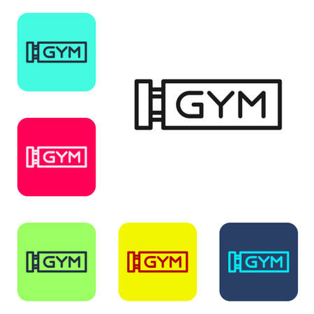 Black line Location gym icon isolated on white background. Set icons in color square buttons. Vector