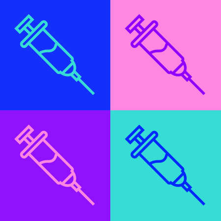 Pop art line Doping syringe icon isolated on color background. Vector
