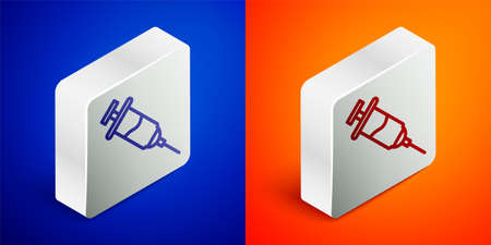 Isometric line Doping syringe icon isolated on blue and orange background. Silver square button. Vector