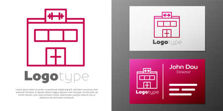 Logotype line Gym building icon isolated on white background. Sport club. Logo design template element. Vector